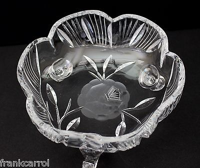 Glass Dish Bowl Frosted Etched Rose Flower Design Crystal Glass Footed Round