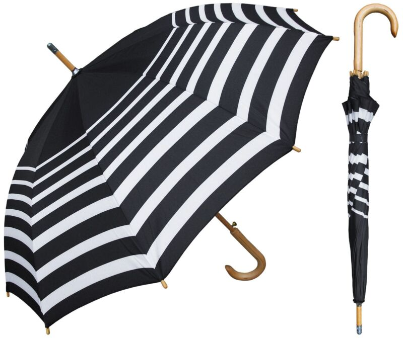 "48"" Arc Black/White Stripe Auto Umbrella - RainStoppers Rain/Sun UV"