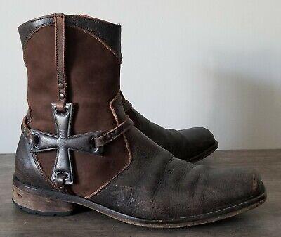 Mark Nason Square Toe Brown Leather Alicante Iron Cross Boot Men's Size 11