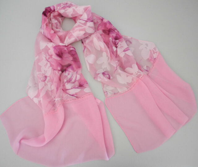 Lovely Flower Print Long Hot Pink Silk Feeling Smooth Chiffion Scarf SL24