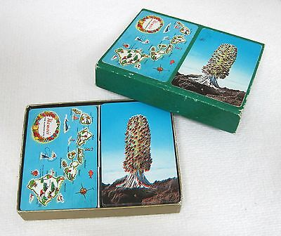 1950's Hawaii The Aloha State 2 Decks of Cards Map Hawaii Silversword Crazy T44