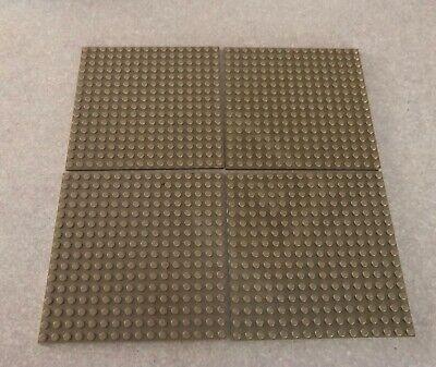 "LEGO Lot of 4 Base plates DARK TAN 16x16 dot 5""x5"" square base plate"