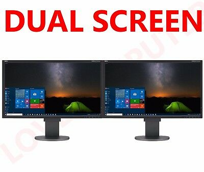 "2x 22"" Cheap Monitor VGA TFT LCD Office Laptop Gaming Computer PC Dual Monitor A"