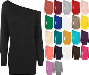 New-Womens-Off-Shoulder-Long-Sleeve-Plain-Batwing-Ladies-Plain-Stretch-Top-8-20