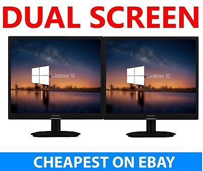 "2x 19"" Cheap Monitor VGA TFT LCD Office Laptop Gaming Computer PC Dual Monitor A"