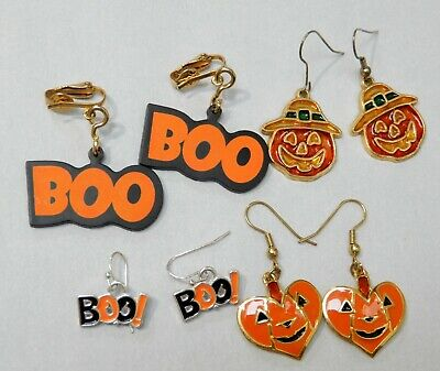 4 Vintage Halloween Pumpkin & Boo Earring Lot