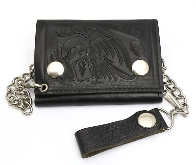 Flag Genuine Leather Chain Wallet - Trifold Black Genuine Leather Biker Chain Wallet Embossed Mexico Flag Eagle