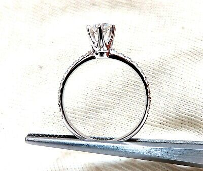 GIA Certified .73ct round cut diamond Raised Tulip ring Platinum 2