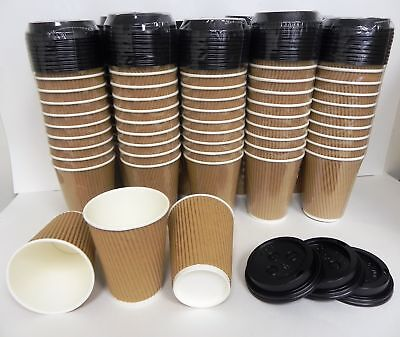 12 oz Coffee Tea Paper Cups with Lids Triple Walled Disposab