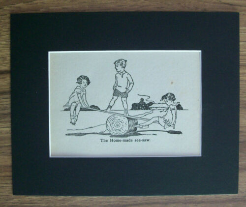 Print Child Kids The Home Made See Saw 1930s Bookplate 8x10 Matted Adorable
