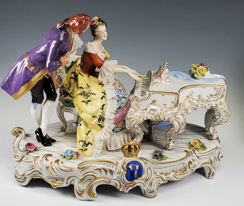 Volkstedt German Dresden Lace Porcelain Figural Group Man w/ Lady Playing Piano