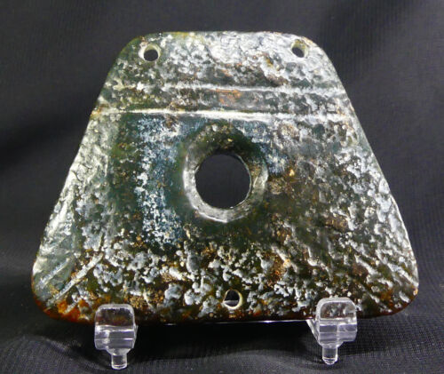 Ancient Chinese Jade Yu-Axe: Fish & Heaven Amulet w/Characters & Translation!