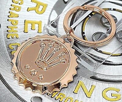 NOS Rolex Watch Promotional Gift Stainless Steel Rose/Pink Gold P Key Chain/Ring
