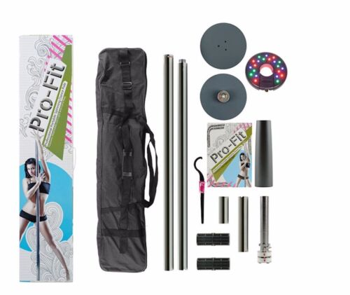 Dance Pole 50mm Pro-Fit Professional Portable Spinning plus Attachable LED Light