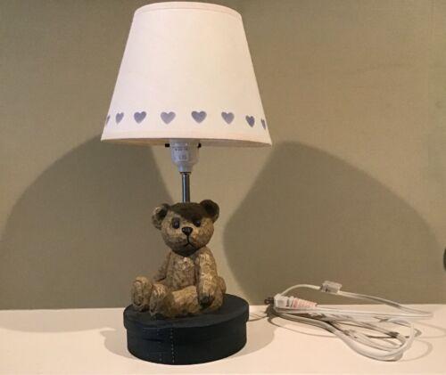 Resin Nursery Teddy Bear Lamp with Heart Shade