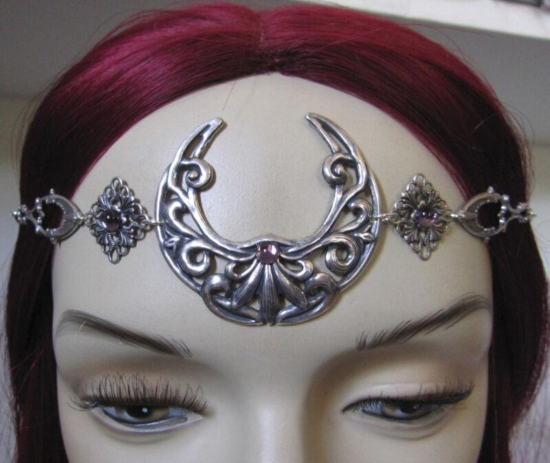 Moon Goddess Priestess Silver Crown Circlet Headpiece Headdress Gothic Jewelry