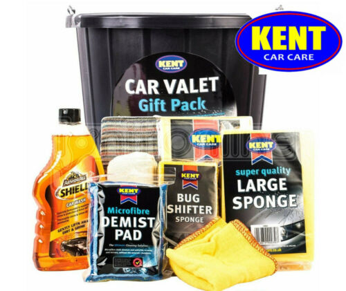Kent Car Care Cleaning Valet Pack in Bucket - 9 Piece Wash Gift Set Kit - SALE