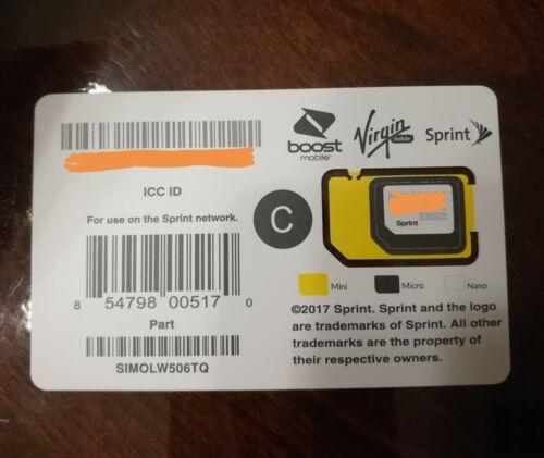 Sprint SIM Card SIMOLW506TQ Galaxy S9 S9+ Note 9 Tello Boost