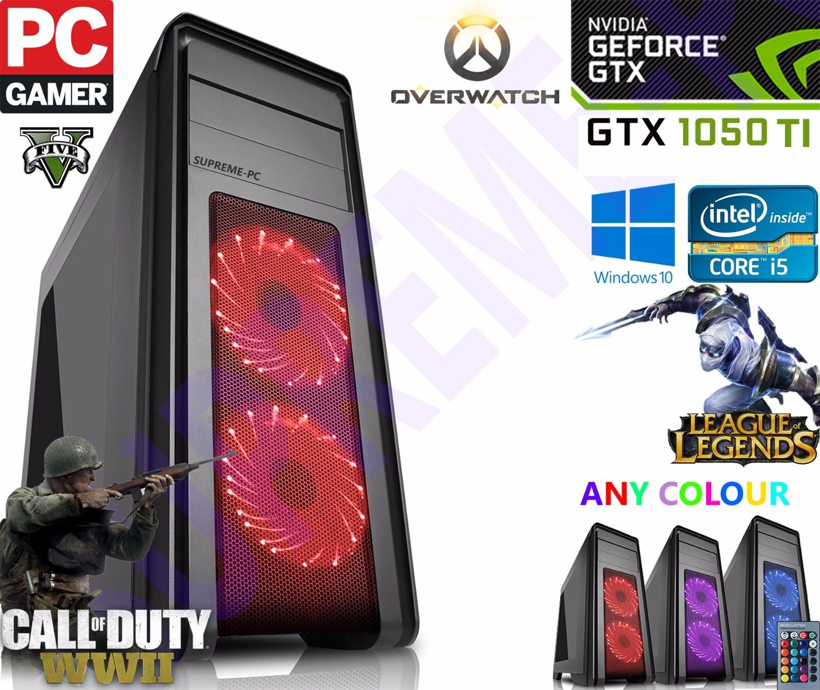 Computer Games - ULTRA FAST i3 i5 i7 Desktop Gaming Computer PC 2TB 16GB RAM GTX 1060 Windows 10