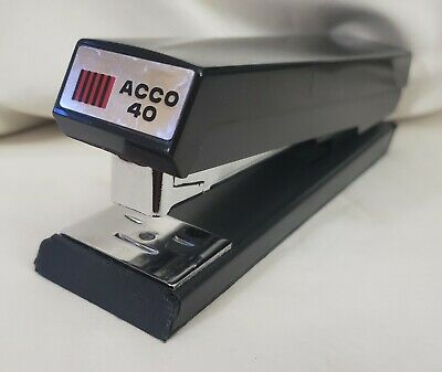 Vintage Black Acco 40 Stapler - Chicago Made In Usa - Working - Heavy