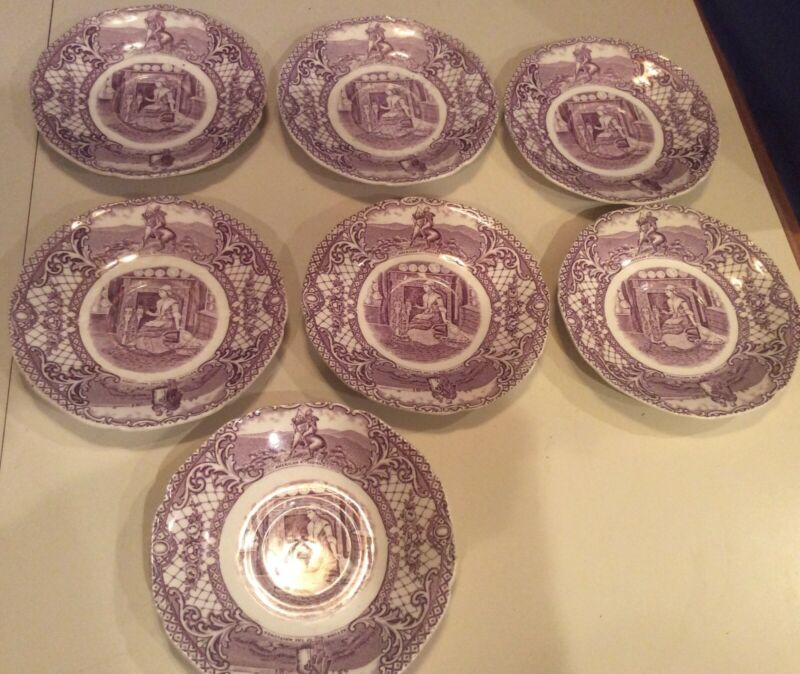 7 Crown Ducal Colonial Times Mulberry Saucers - 5-3/4""