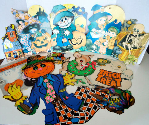 12 Vintage Halloween Diecuts Eureka Beistle Jointed Pumpkin Scarecrow Estate Lot