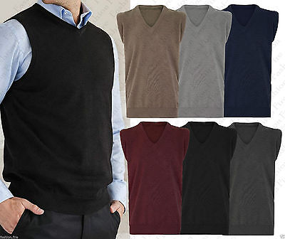 Mens Vintage Bowling Golf Cricket Knitted V Neck Sleeveless Pullover Jumper Top*