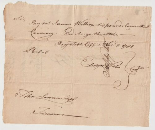 1780 Revolutionary War Document Connecticut Currency Pay Order