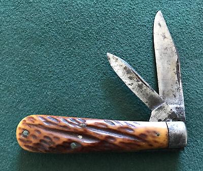 VINTAGE ROBESON SHUREDGE USA JACK POCKET KNIFE OLD TYPE BONE HANDLE OS.