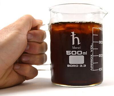 Hand Crafted Beaker Mug Thick Borosilicate Glass 16.9oz 500ml Capacity