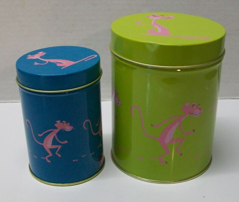 Pink Panther Collector Tin 40th Anniversary by Shag set of (2) Green and Blue