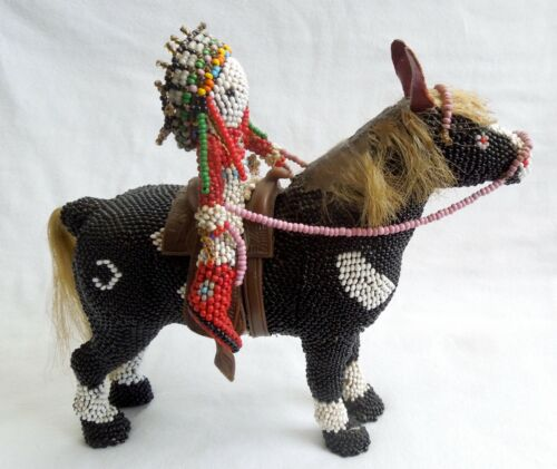 1950s Zuni Beaded HORSE & RIDER *Exceptional*7-Inch* LARGE *Horsehair*FREE SHIP*