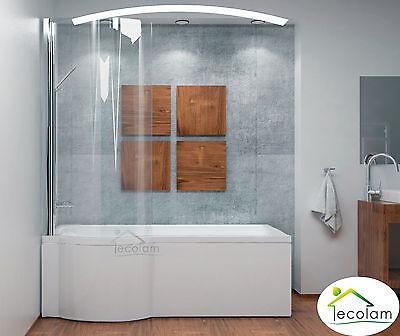 Set Badewanne Badewannenabtrennung Duschwand Glas eckig Rechteck 160x70 cm links