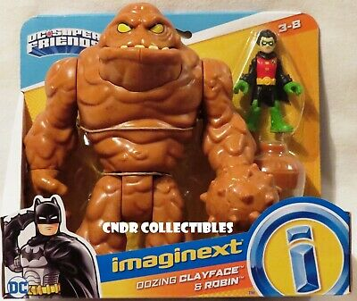 "Imaginext Batman DC Super Friends Deluxe OOZING CLAYFACE & 3"" ROBIN figure 2pack"
