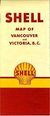 1950 Shell Road Map: Vancouver Victoria (no header) NOS