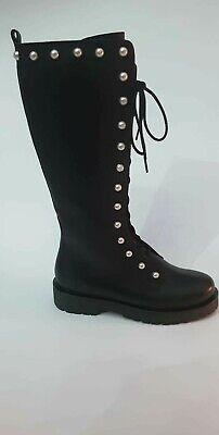 TWINSET Zapatos Botas Militares Mujer Talla 37 Cuero Negro