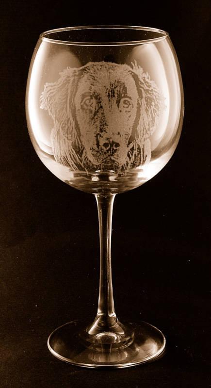 Etched Flat Coated Retriever Large Elegant Wine Glasses - set of 2