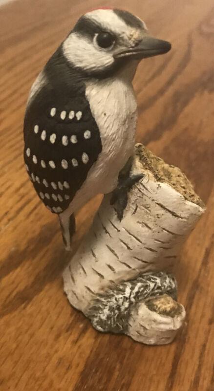 "3"" Richard Lamson Studio ""Downy Woodpecker"" Resin Bird Figurine Beech EUC"