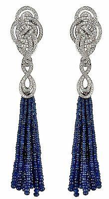 (Blue Bead Earrings Dangle Handmade Beautiful Solid Sterling Silver Design Knot)