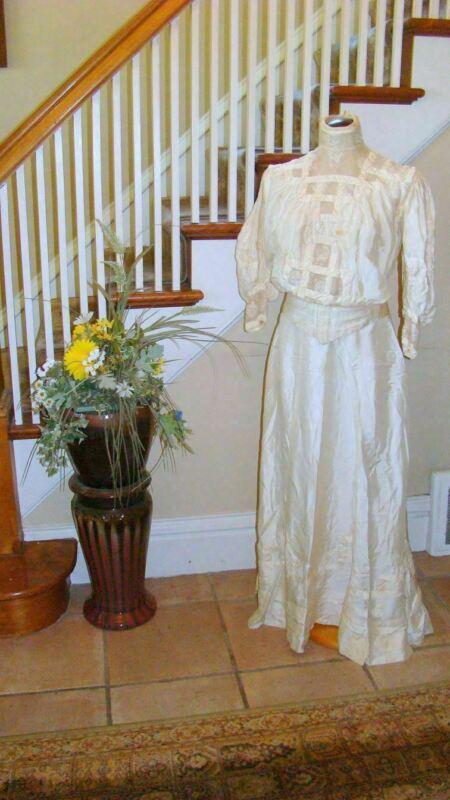 Antique Victorian Silk Crepe Wedding Gown Ensemble Blouse Skirt Veil Sash Lot