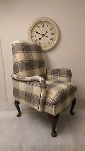 Country Shabby Chic Bedroom Chair in Cream Alderney Check fabric. FREE DELIVERY