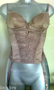 NEW-LOOK-Padded-Basque-34C-Mocha-Brown-Satin-Lace-Underwired-Bodice-Sexy-New