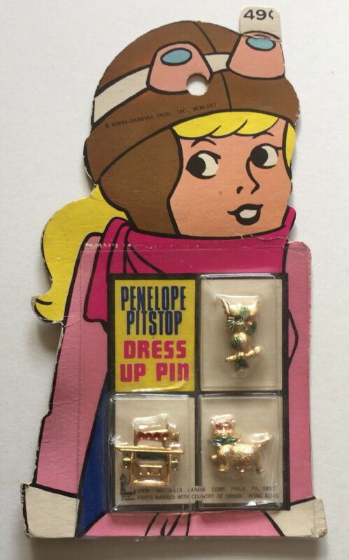 1972 Penelope Pitstop Dress Up Pin Carded