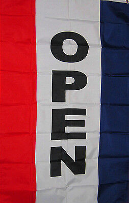New 3x5 Ft Vertical Open Sign Banner 90x150cm With Superpoly Satin Material Flag