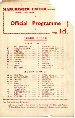 MANCHESTER UNITED RESERVES v WEST BROMWICH ALBION 22/08/1959 MATCHDAY PROGRAMME
