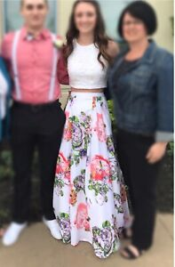 Two Piece Floral Prom Dress!