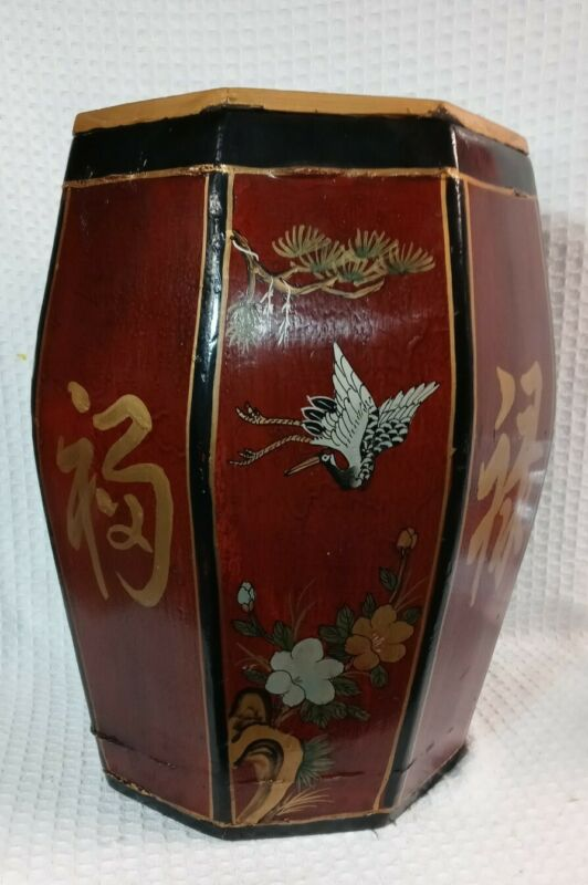 Antique Wood Chinese Asian Rice Container Lacquer Red Gold Shanxi Origin