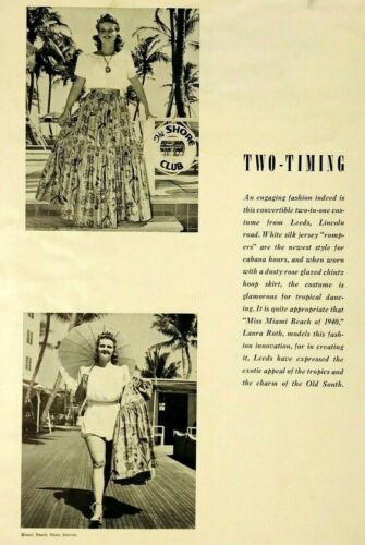 Miss Miami Beach 1940 Fashion Laura Roth Tropic South Vintage Print Ad Pictures