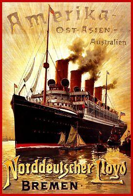 Plakat: Norddeutscher Lloyd 1900 Schiff Dampfer Reprint