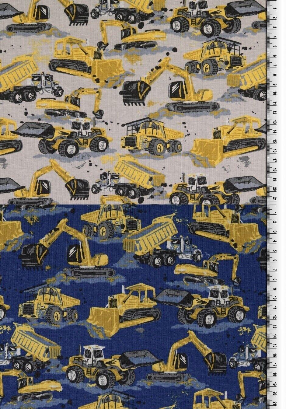 Bagger Stoff Jersey Elastisch Digitaldruck Kinderstoff Baufahrzeuge Jungen NEU!